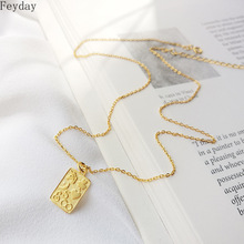 Vintage Rectangle Four Leaf Heart Pendant Necklace 925 Sterling Silver Gold Geometric Chain Necklace Women Silver 925 Jewelry стоимость