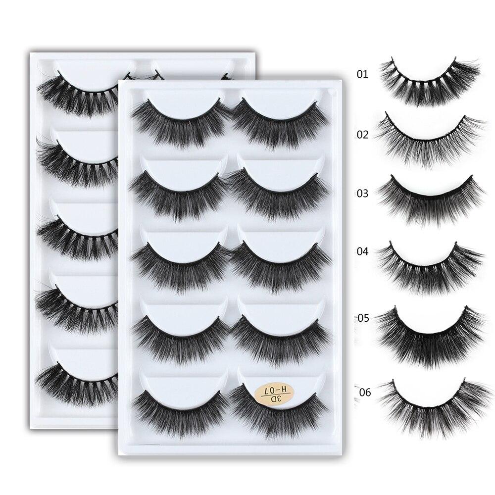 f378c8244bb 5 Pairs 3D Mink Hair False Eyelashes Makeup Handmade Cross Long Messy Fake  Eye Lashes Extension