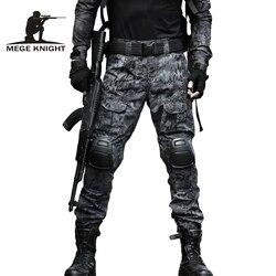 MEGE 12 Tático Roupas de Camuflagem Cor Do Exército de Combate Uniforme, Calças Com Joelheiras Militar, Airsoft Paintball Roupas