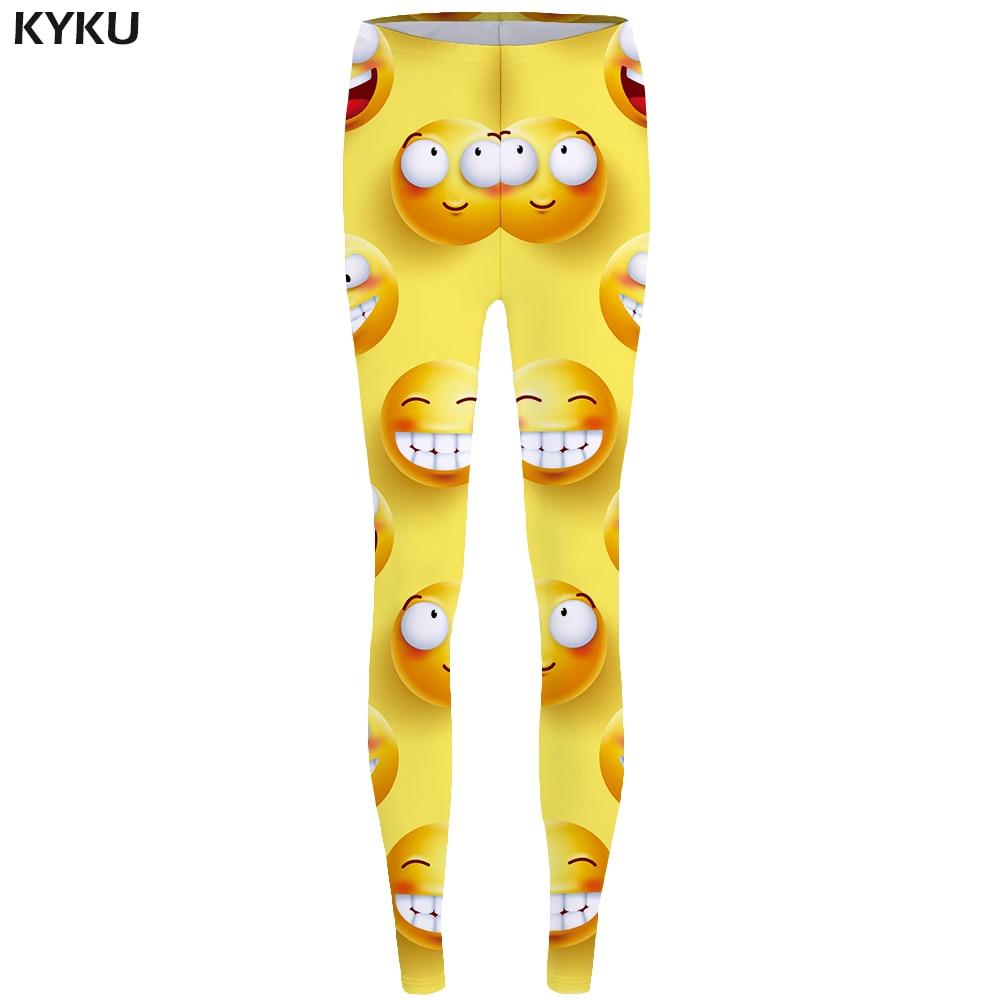 KYKU Brand Expression Leggings Smiling Face Legging 3d Lovely Print Legging Funny Long leggins  Stretch Pants Women