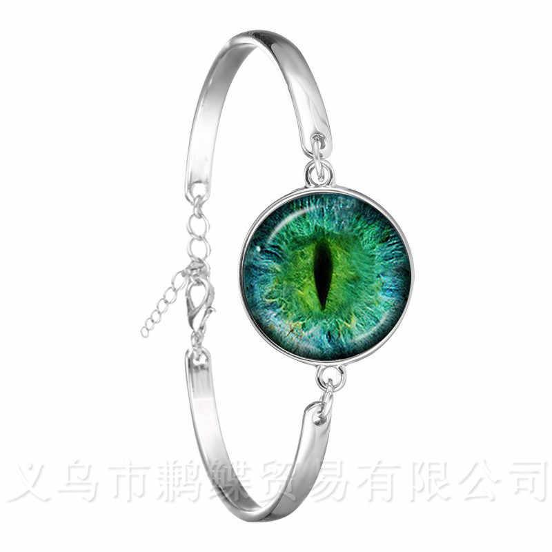 الساحرة الأخضر عيون الشر سوار بحليات العين الزرقاء جميلة الحيوان التنين القطط العين 18 مللي متر الزجاج كابوشون الفضة مطلي الإسورة أفضل هدية