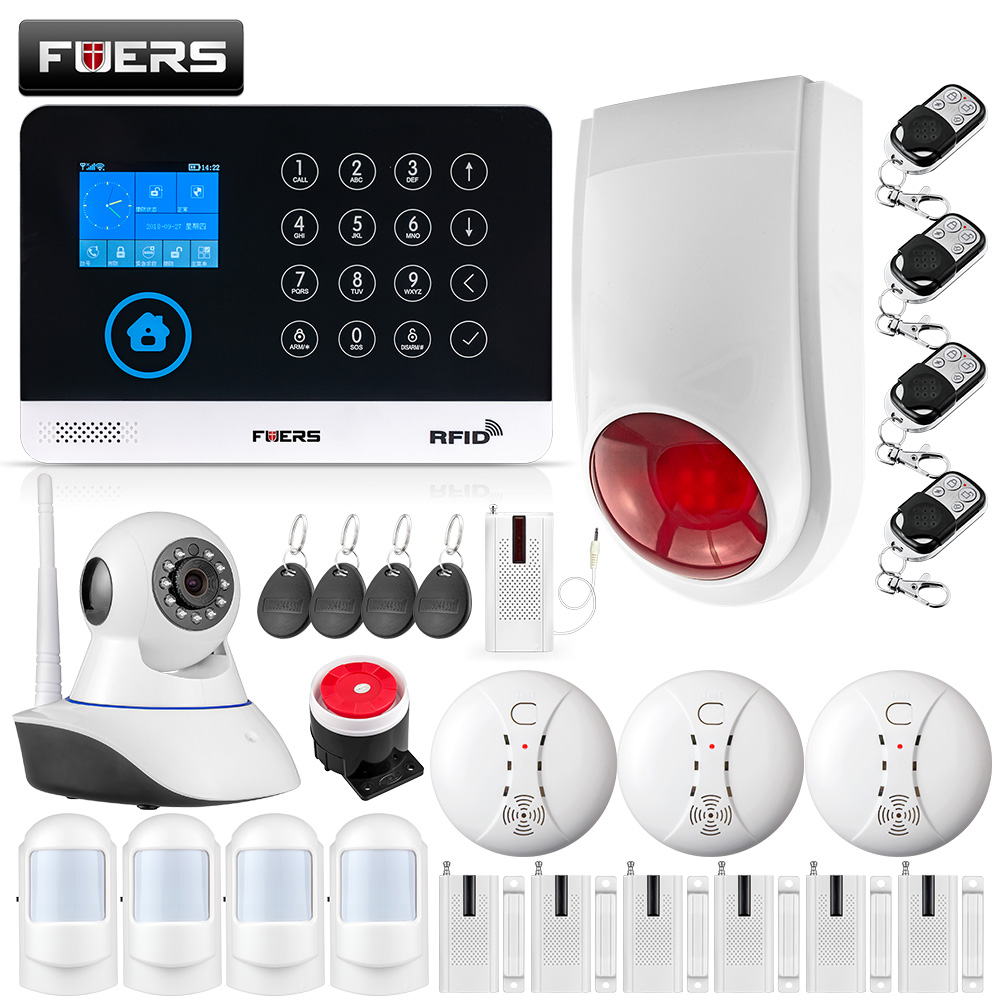 9 LNG WIFI GSM Wireless Home Security Alarm System APP Control IP Camera Outdoor Siren RFID