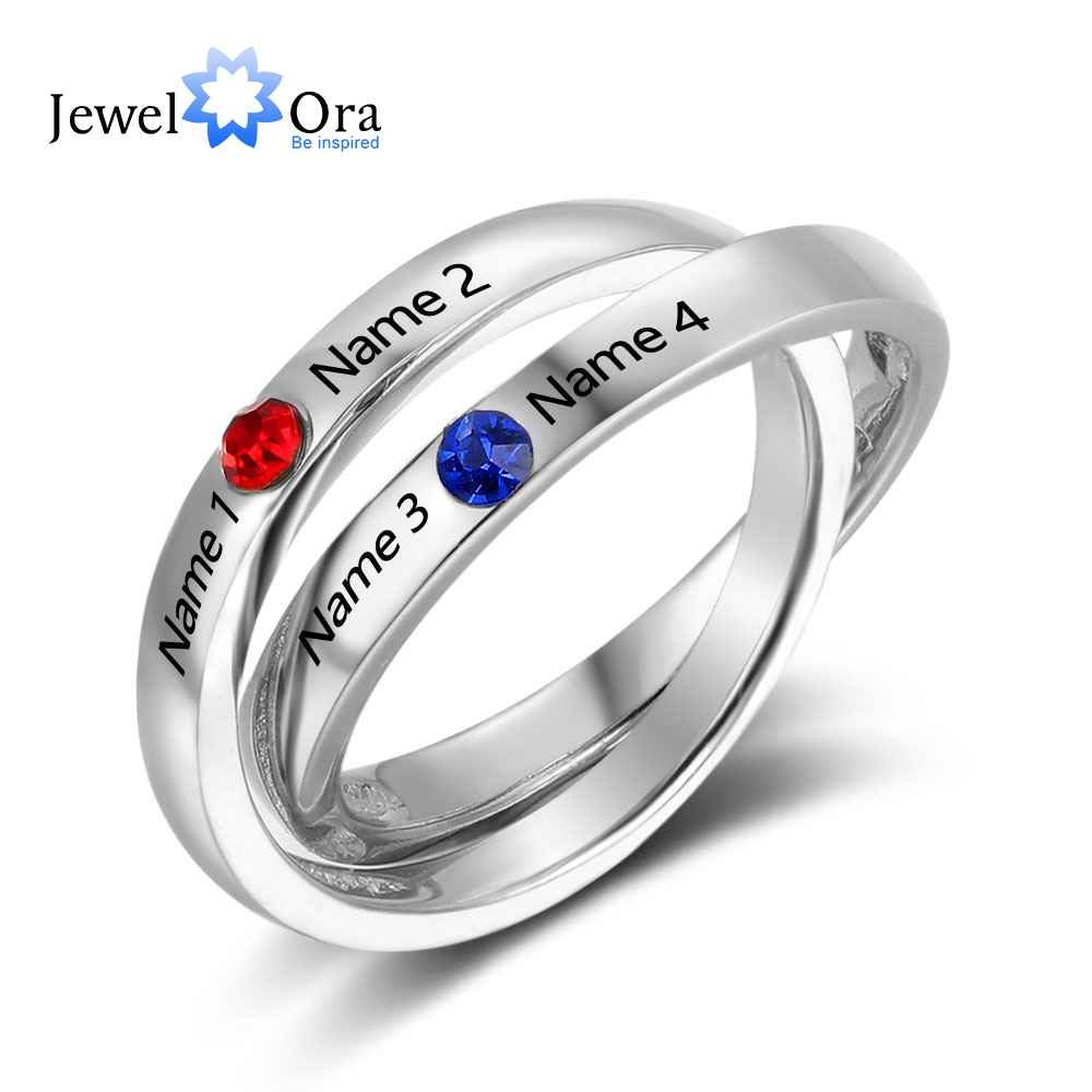 Jewelora Birthstone Ring Engagement-Rings 925-Sterling-Silver Women New Name Round