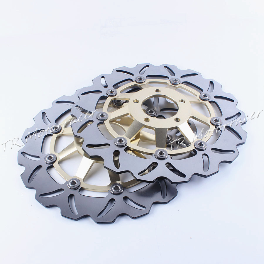 One Pair Motorcycle Front Brake Disc Rotor For Suzuki GS E 500 89-03 GS F 500 04-07 GSF BANDIT 400 89-96 GSX 1200 99-03 Gold mfs motor motorcycle part front rear brake discs rotor for yamaha yzf r6 2003 2004 2005 yzfr6 03 04 05 gold