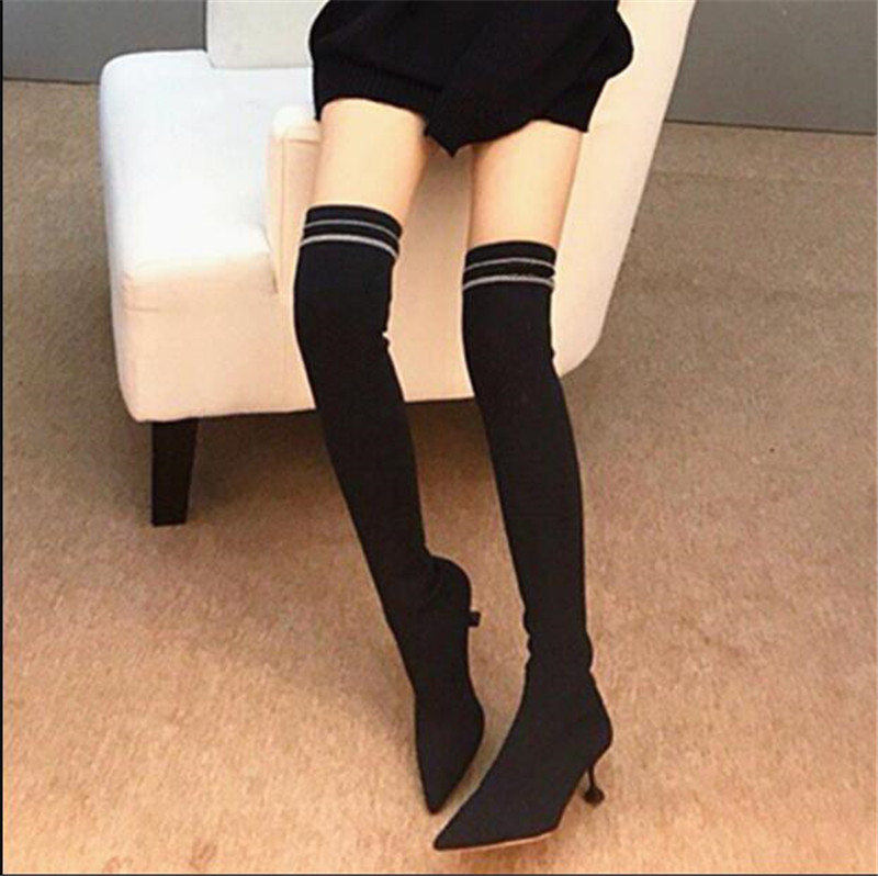 Show Zapatos Mujer As Chaussures De Slipsur Femmes Over 2018 Mode Kniting Bottes the Chic Solide Concise Botines Bota Talon Feminina genou Haute QdeCxoWrB