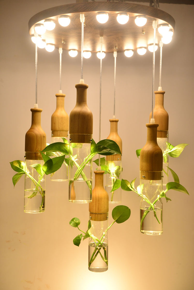 The Creative Art Pendant Diy  Green Plants  Led pendent light Modern Minimalist Staircase Restaurant Meals Chandeliers N1306