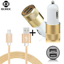 Ouhoe 5V 2.1A Daul USB Automobile Charger with Information & Charging Cable for Android Samsung Xiaomi HTC LG Huawei Cellular Telephone Charger