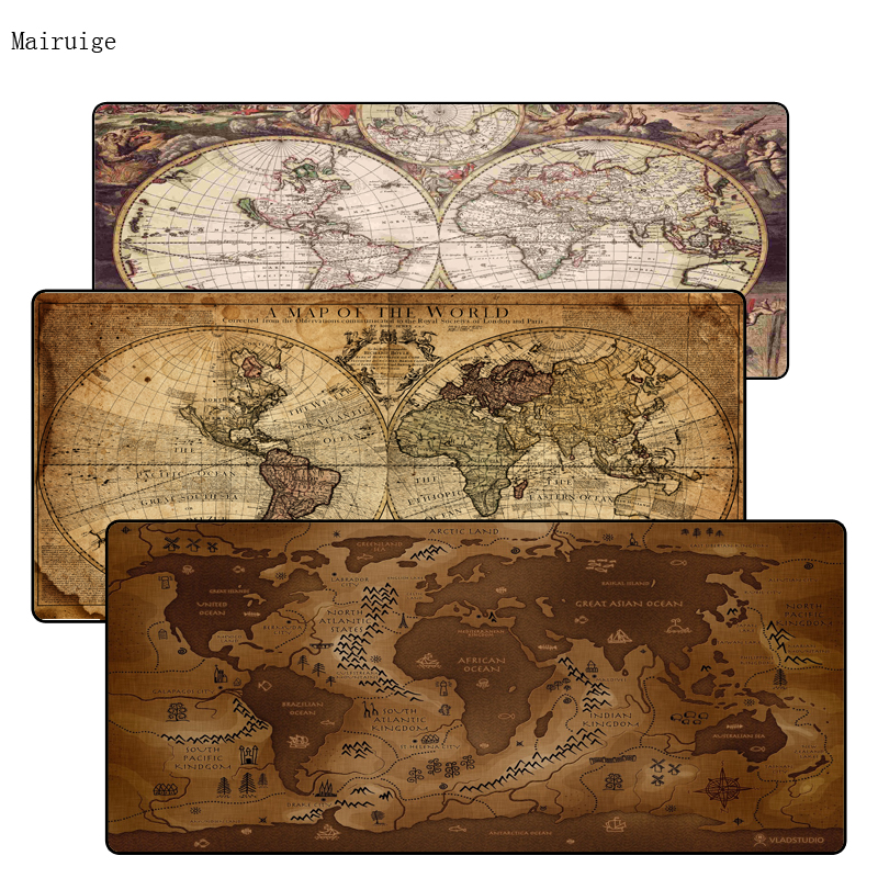 Mairuige Old World Map 400*900*3mm XXL Large Mouse Pad Gamer Mousepad Keyboard Mat Office Table Cushion Home Decor For CSGO DOTA