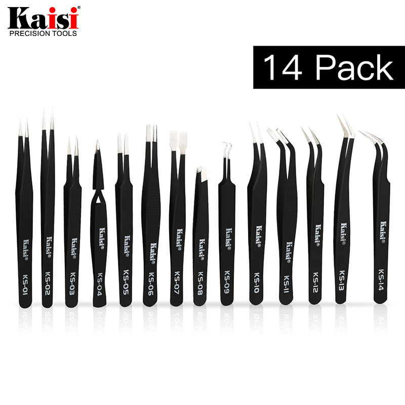 Plastic Tweezers Set for Electronics DIY Jewelry-making Repair Tool Black 6pcs Precision Tweezers