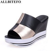 ALLBITEFO Size 34 44 Full Genuine Leather Mixed Colors Women Sandals Peep Toe Wedges Heel Platform
