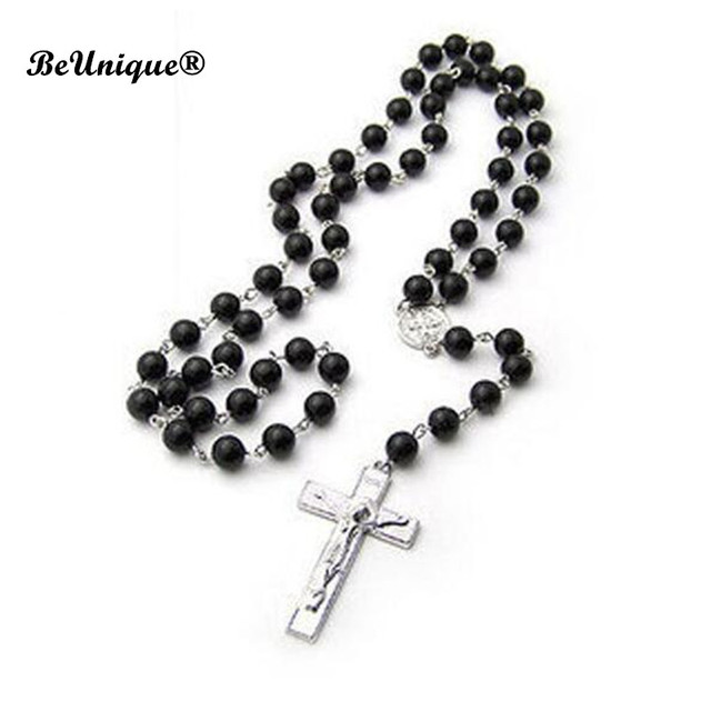 42cm ham black prayer beads necklace mans glass beads cross rosary 42cm ham black prayer beads necklace mans glass beads cross rosary pendant catholic gifts religious goods aloadofball Choice Image