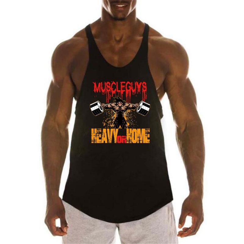 Dragon Ball Tank Top Men Bodybuilding Fitness Clothing Super Saiyan Print Cotton O-Neck Sleeveless Shirt Men Gyms Stringer vest
