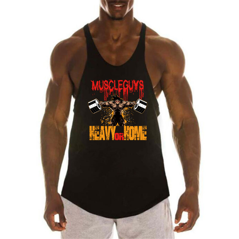 Dragon Ball   Tank     Top   Men Bodybuilding Fitness Clothing Super Saiyan Print Cotton O-Neck Sleeveless Shirt Men Gyms Stringer vest