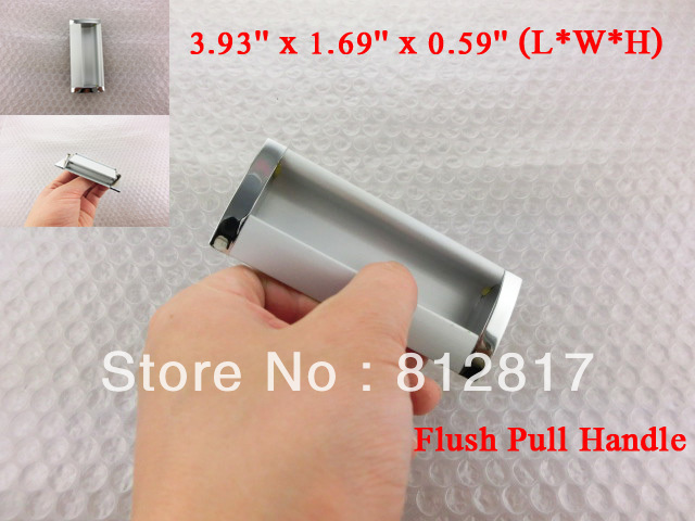 "Sliding Door Silver Tone Rectangle 3.93"" Long Flush Pull Handle"