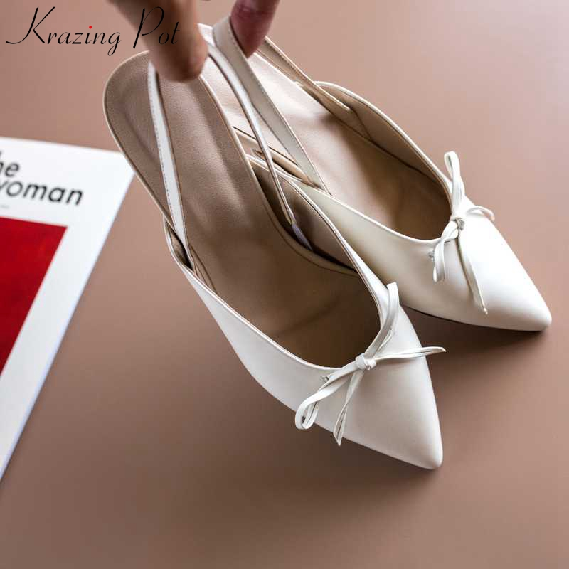 Krazing Pot 2019 full grain leather elastic band classic vintage pointed toe strange low heel movie