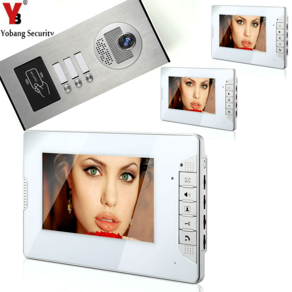 YobangSecurity 3 Units Apartment Wired 7Inch Video Door Phone Video Door Entry Intercom System Doorbell RFID Access IR Camera yobangsecurity 6 apartment wired video door phone intercom system 7 inch monitor ir camera video intercom doorphone doorbell kit