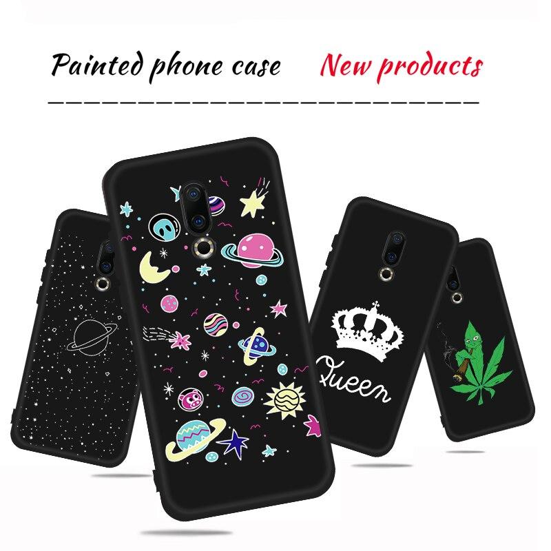 Hart en Koningin Patroon Matte Phone Case Voor Meizu 16X16 th 16 Plus M5 M6 Note M5C M5S m6 X8 Note 8 9 Back Cover TPU Telefoon Case