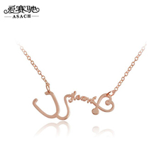 ASACH 3 Colors Occident New Hot Heart Stethoscope Shape Women Pendant Necklaces Sweetheart Metal Long Collares Accessories Gifts