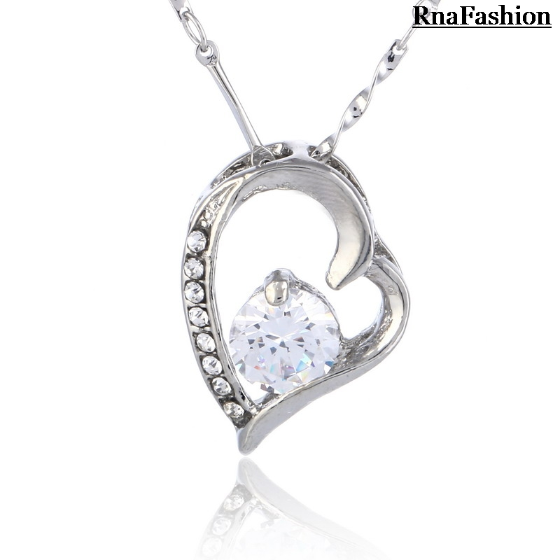 Free Shipping Austria Crystal Jewelry Heart Cubic Zirconia Crystal Pendant Necklace Silver Plated Valentine's Day Gift for Girls