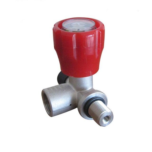 Cylinder Parts SCBA  Tank Valve/PCP Tank Bottle Valve/Composite Carbon Fiber Red Valve Gauge -C
