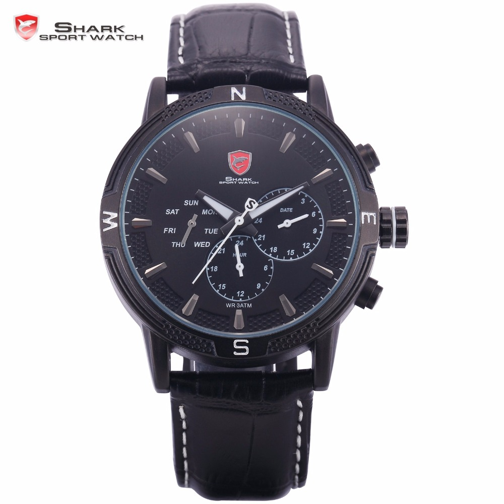 Swell Shark Sport Watch 3D Analog Full Black Planet Style Leather Date Day 24 Hours Men Quartz Military Watches Timepiece /SH347 goblin shark sport watch 3d logo dual movement waterproof full black analog silicone strap fashion men casual wristwatch sh165