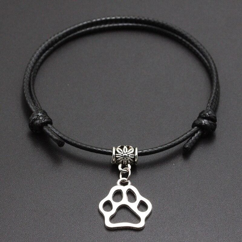 2020 New Big Dog Paw Pendant Red Thread String Bracelet Lucky Black Coffee Handmade Rope Bracelet for Women Men Jewelry