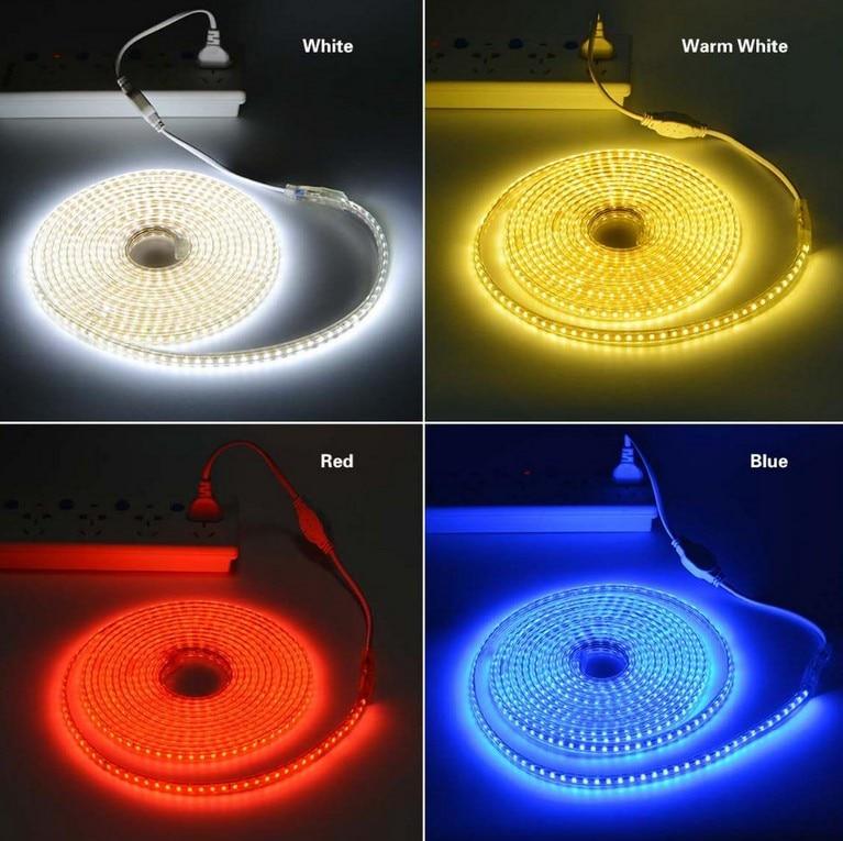 220 v Impermeabile Ha Condotto La luce di striscia con la Spina di UE 2835 SMD Luce della Corda flessibile, 120 Leds/M alta luminosità esterna decorazione dell'interno - 2