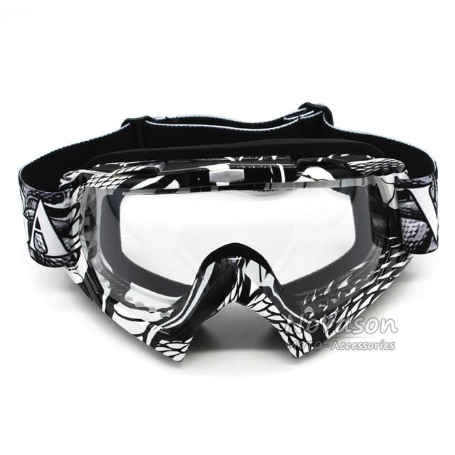 Nueva lente transparente gafas gafas de motocross dirt bike moto ski snowboard a prueba de polvo de la vendimia gafas de motocicleta gafas