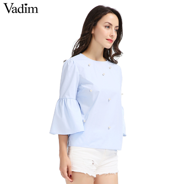 Women elegant pearls beading flare sleeve shirt O neck blouse three quarter sleeve summer brand casual tops blusas LT1799