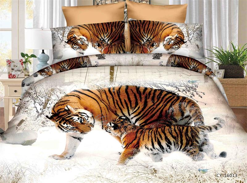 BEST.WENSD Tiger Bedding Set Bed Comforter Printed Western Bed Linen Set  Duvet Cover Pillowcase Animal King Comforter Set Cover