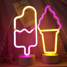 LED Neon Light Sign Popsicle Lamp Battery Box for Ice Cream Shop Pastry Display Restaurant Bar Holiday Decor Sexy