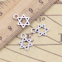 50pcs/lot Charms star of david shield 13x10mm Antique Silver Pendants Making DIY Handmade Tibetan Finding Jewelry for Bracelet