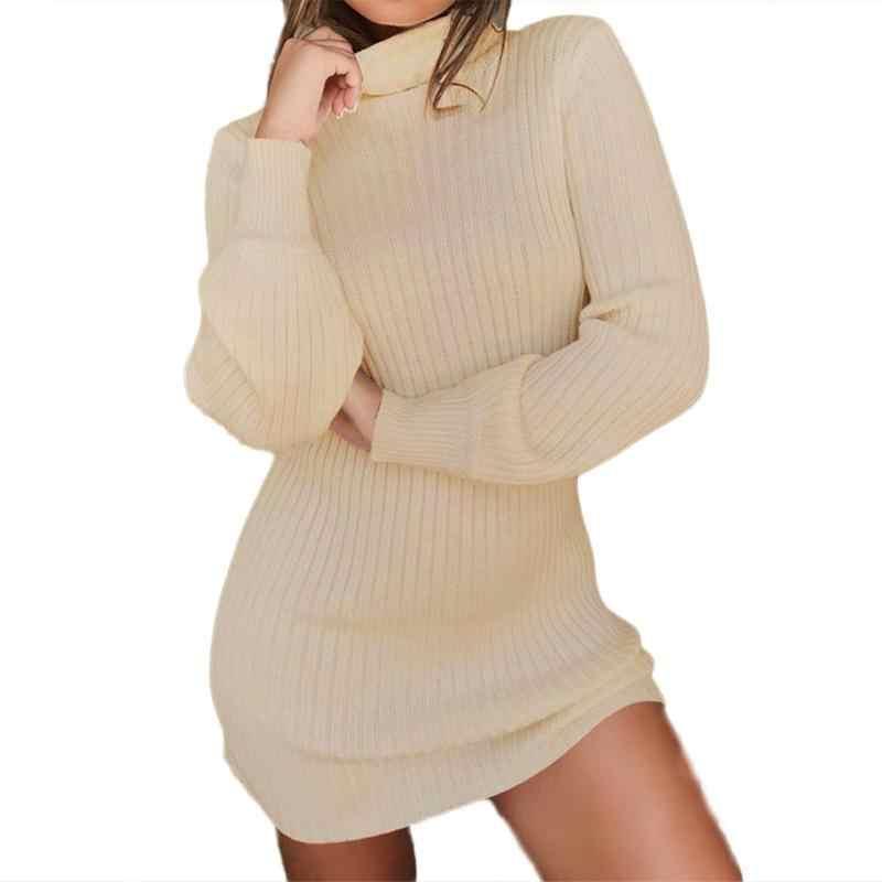 71ce989576a4e 2018 New Spring Winter Warm Sweater Dress Women Sexy Slim Bodycon Dress  Female O neck Long