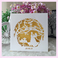 100 pcs/lot first communion gift wedding giveaway gifts wedding laser cut birde and groom invitation card decoration souvenirs