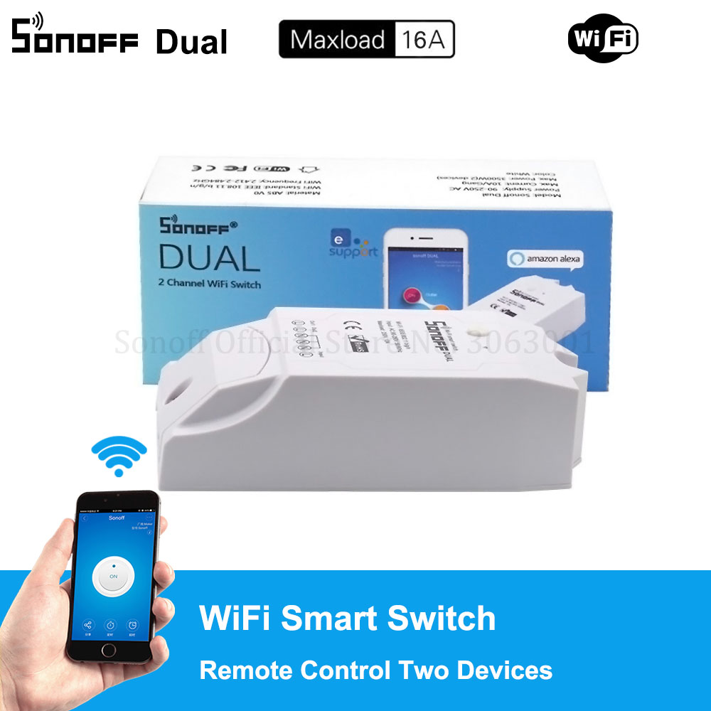 Sonoff Dual 2CH Wifi Switch Dual Lights Controlled Remote Wifi Switch Control Two Devices Smart Wireless Switch Works With 40km h 4 wheel electric skateboard dual motor remote wireless bluetooth control scooter hoverboard longboard