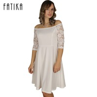 FATIKA Women Casual Dresses 2017 New Arrival Summer Style Off Shoulder Womens White Lace Sleeve A