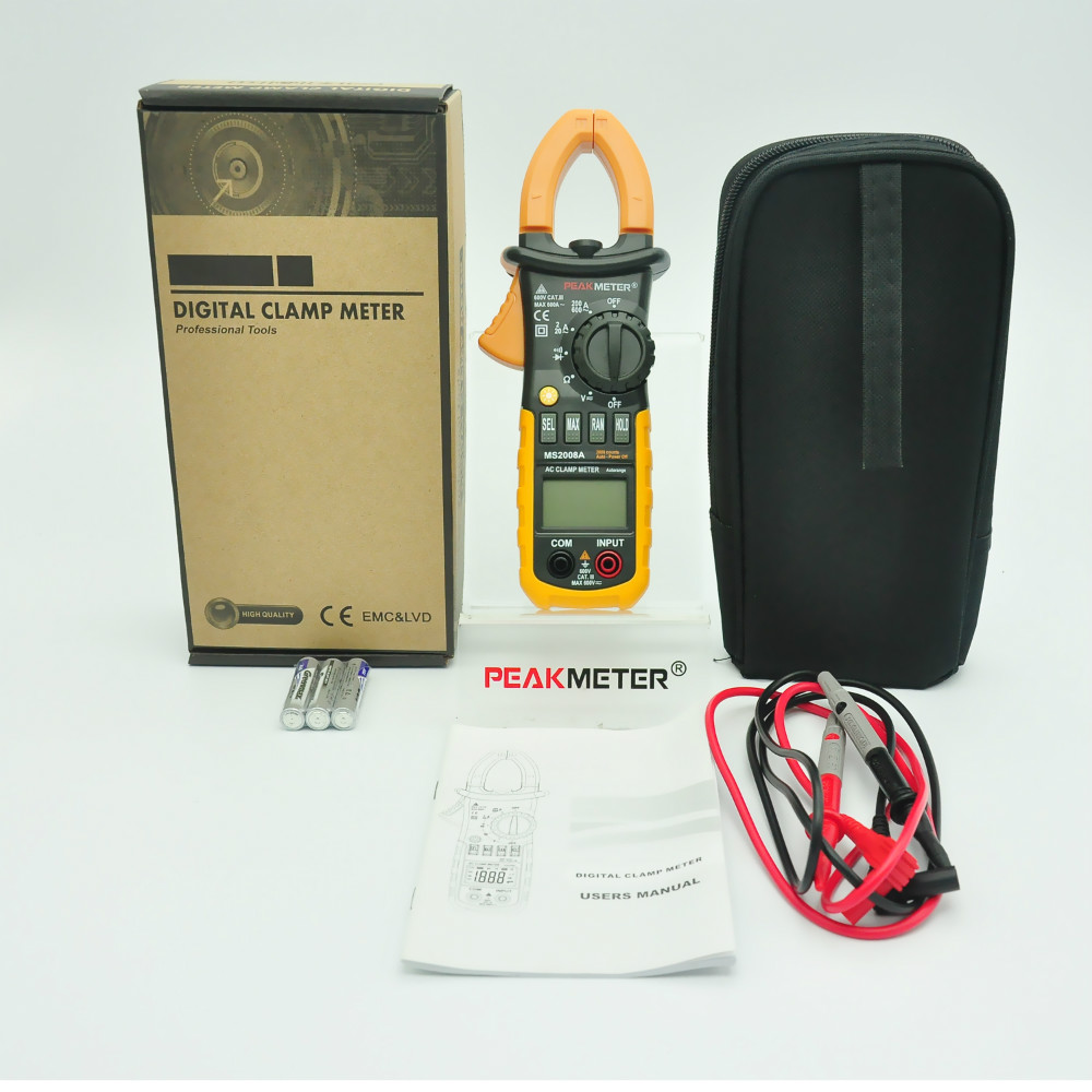 PEAKMETER MS2008A  Auto Range DC AC Current Digital Clamp Meter Multimeter Voltage Frequency Meter Tester Backlight my68 handheld auto range digital multimeter dmm w capacitance frequency