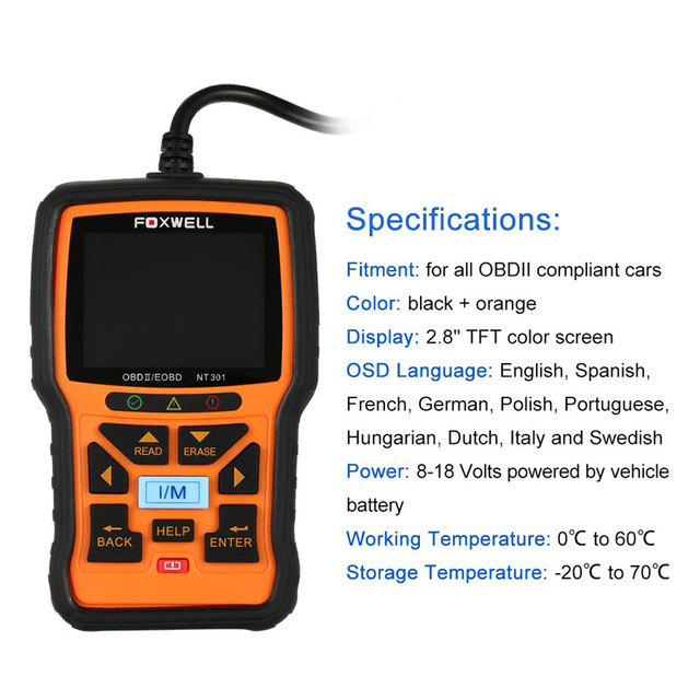 Original Foxwell NT301 Can OBDII EOBD Code Reader Update Online Powerful Auto Diagnostic Check Engine Scanner Tool Free Shipping