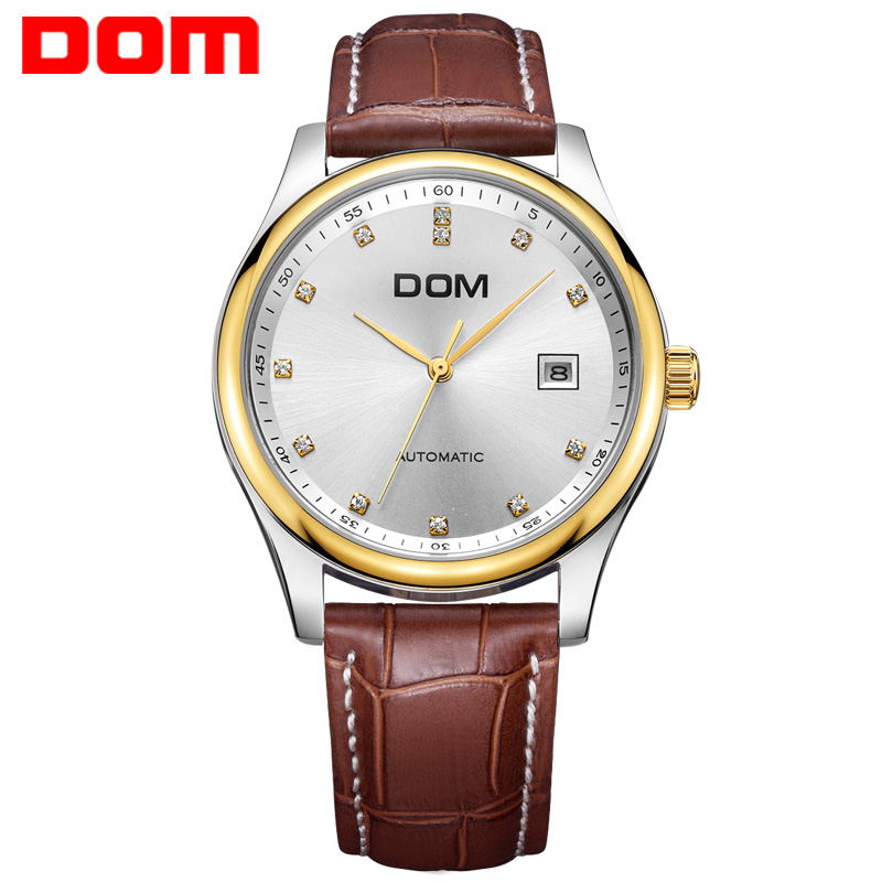 DOM mechanical man watch top brand luxury waterproof leather mens watches crystal reloj hombre M-95L dom men watch top brand luxury waterproof mechanical watches stainless steel sapphire crystal automatic date reloj hombre m 8040