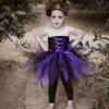 Halloween Girl Vampire Purple Black Cosplay Tutu Dress Knee Length Ribbons Bow Pirate Costumes For Kids