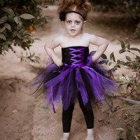 Хэллоуин девушка вампира фиолетовый, черный Косплэй Туту платье по колено Ленточки лук пиратские костюмы для детей Платья для специальных ...