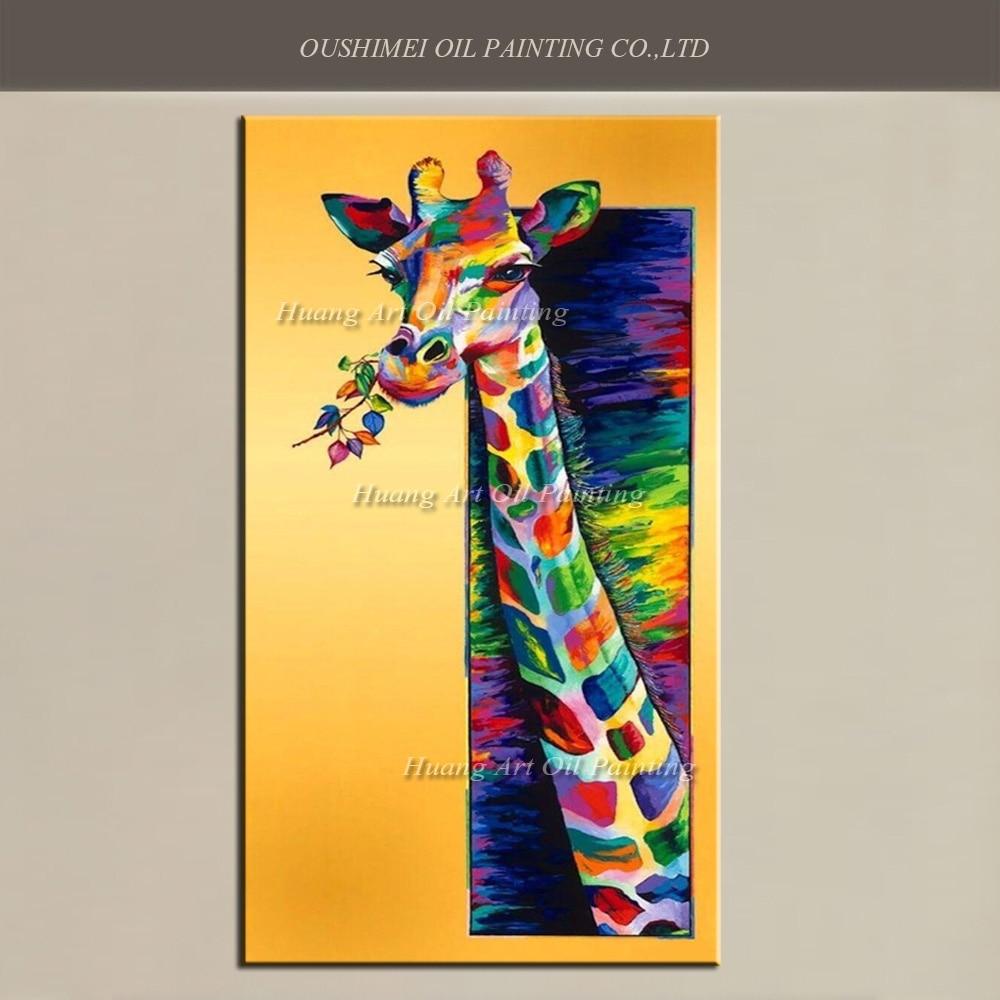 Online Shop Big Size Artist Painted New 3D Giraffe Oil Painting Hand ...