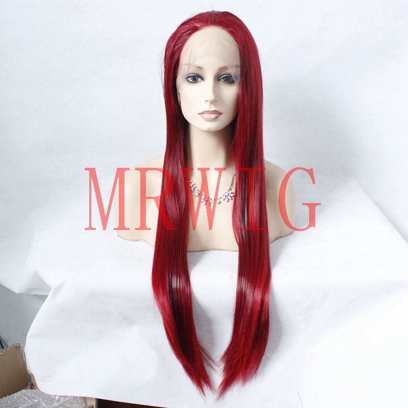 MRWIG long straight burgundy mixed red hair color front lace wig glueless free part 26in real hair stock