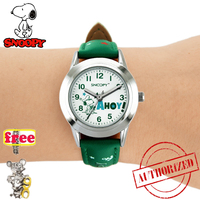 SNOOPY official genuine kids watche pu strap cute children watches boys girls water resistant Sports casual watch clock snw660