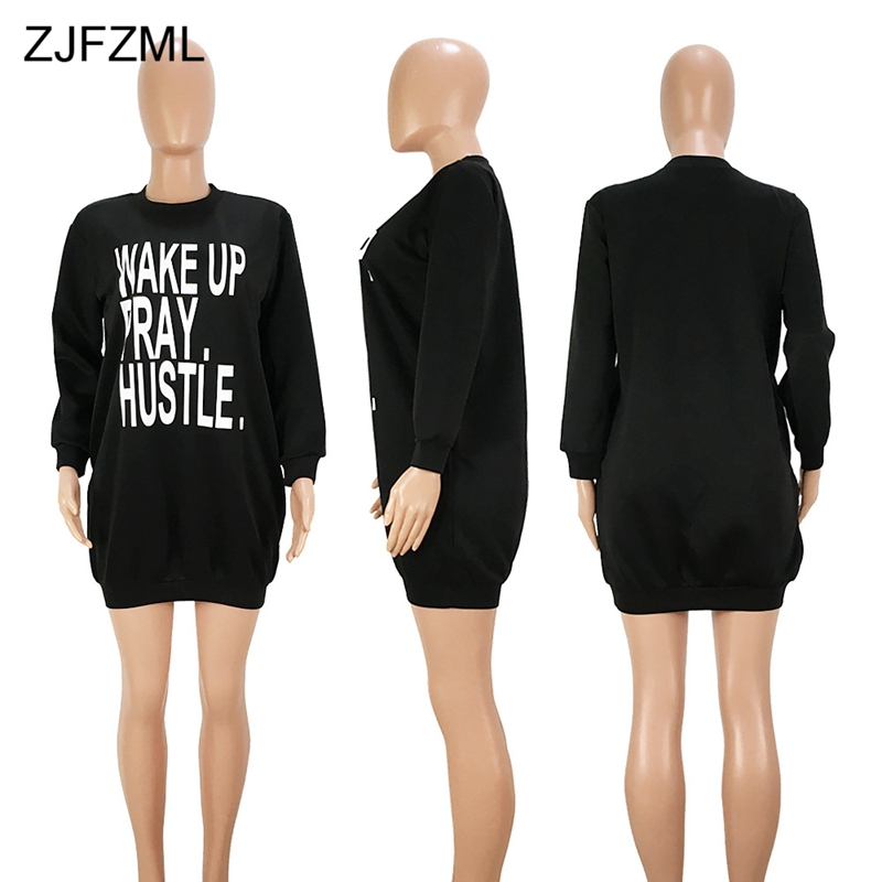 ZJFZML Letter Printed Sexy Plus Size Dress Women O Neck Long Sleeve Loose T  Shirt Dress Casual Space Wadding Pockets Mini Dress-in Dresses from Women s  ... eeab5009fc43
