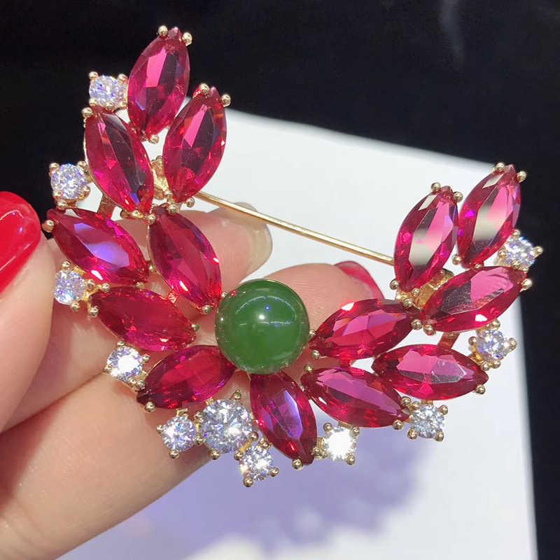 SHANICE Rosso Blu Verde 2019 di lusso della signora delle donne di alta qualità grande perla del fiore zircone completa di cristallo spilla regalo di nozze della signora fine