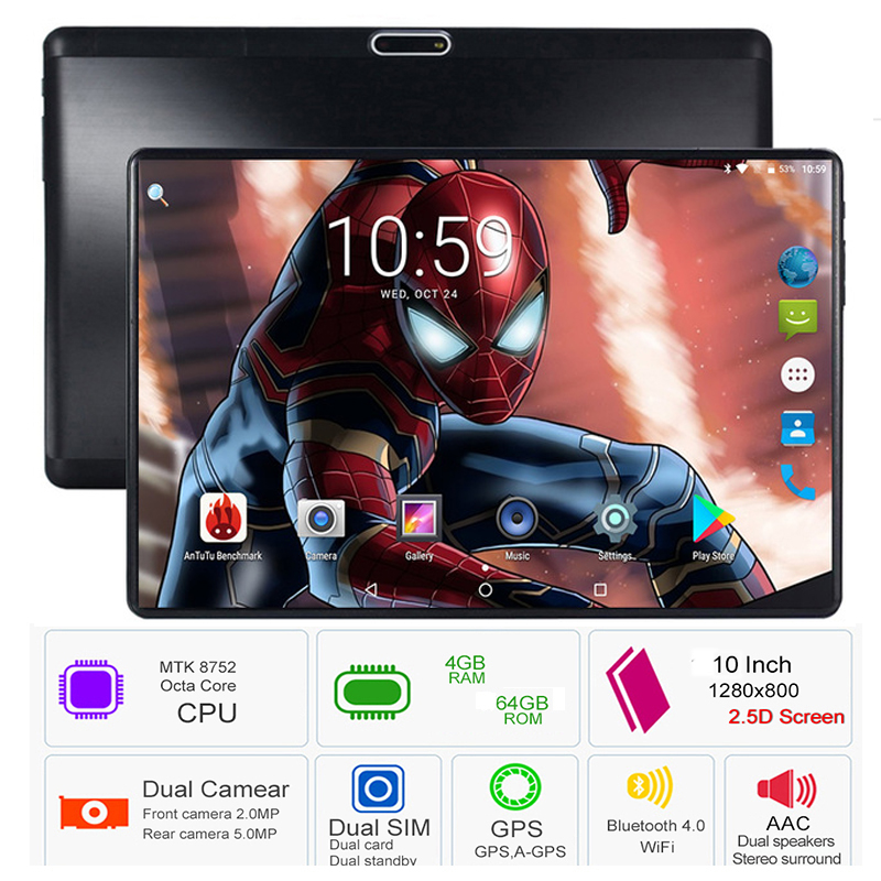 2019 Octa Core 10 pouces tablette MTK8752 Android tablette 6000 mAh 4 GB RAM 64 GB ROM double SIM Bluetooth GPS Android 8.0 tablette PC