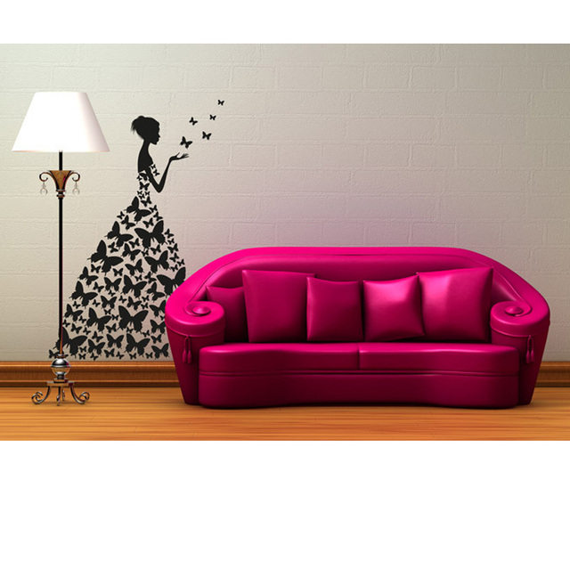 Special Creative Wall Stickers Butterfly Dress Beautiful Girl Wall ...