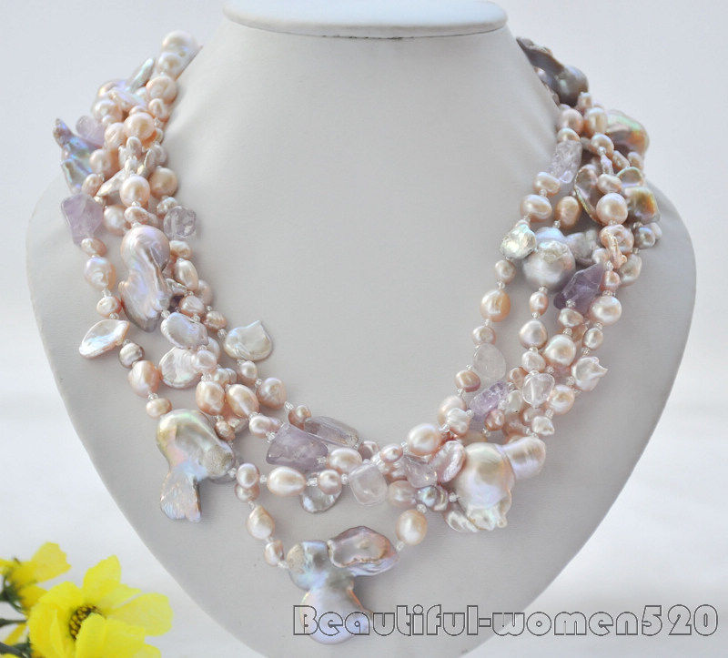 Z6938 5Strds 24mm lavender baroque keshi pearl necklace 20inch z6513 24mm lavender drip baroque keshi reborn pearl necklace 34inch