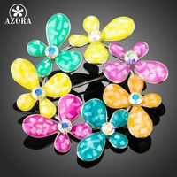 AZORA White Gold Plated 7pcs Colorful Oil Painting Clover Flower Lovely Scarf Clip Pins Brooches TP0042